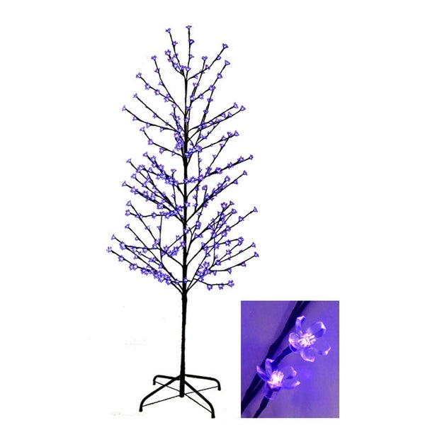 6 X27 Enchanted Garden Led Lighted Cherry Blossom Flower Tree Indigo Purple Lights