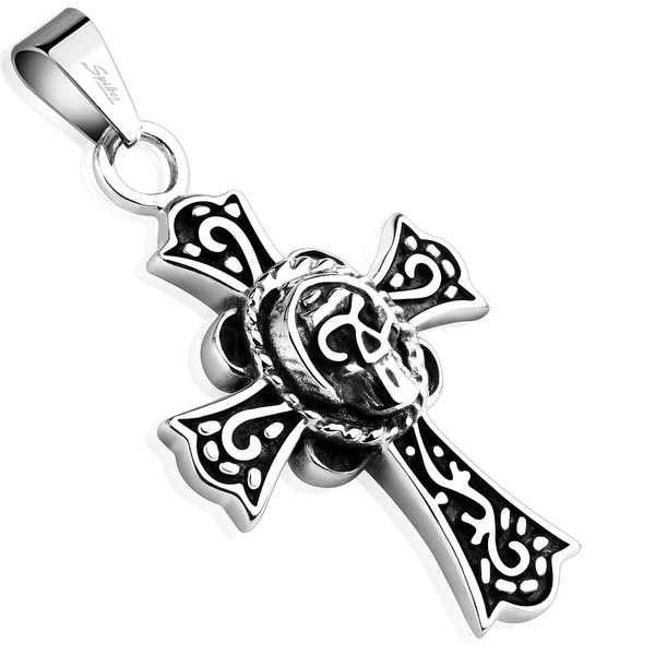 Celtic Cross with Round Skull Stainless Steel Pendant (25 mm Width)
