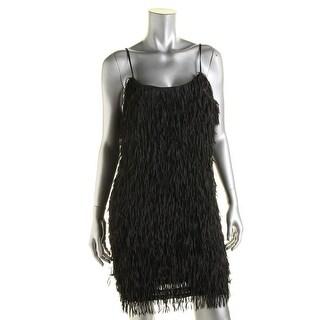 Aqua Womens Fringe Sleeveless Clubwear Dress