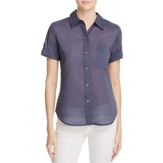 Theory Womens Button-Down Top Cotton Sheer - p