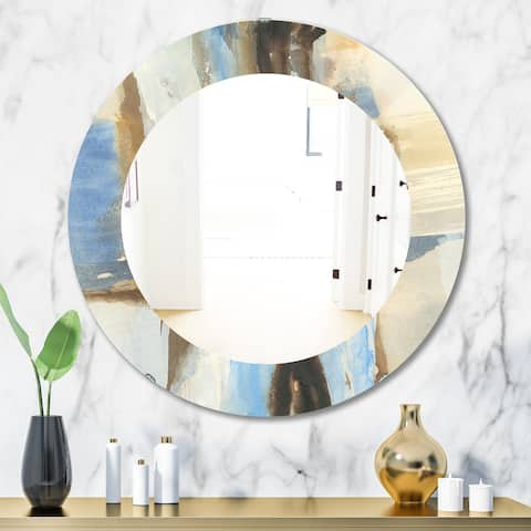 Designart 'River Run I' Modern Mirror - Frameless Oval or Round Wall Mirror