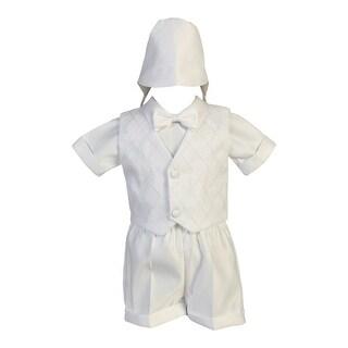 Baby Boys White Organza Vest Satin Shirt Shorts Christening Set