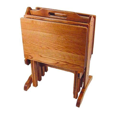 Oak Folding TV Tray Set with Storage Stand