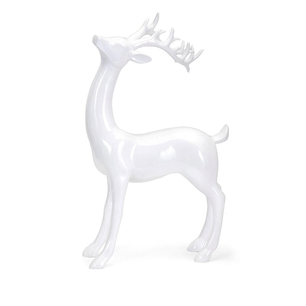"17.5"" Classical Crisp White Decorative Standing Reindeer Sculpture"