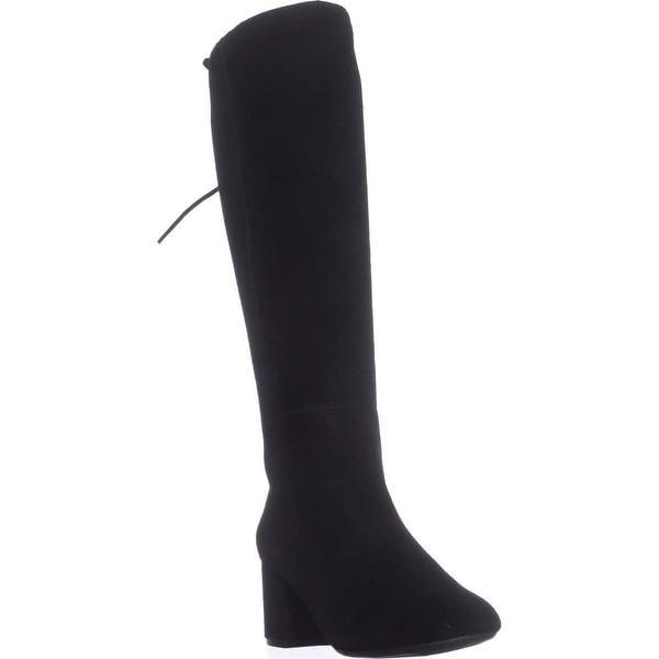 Aerosoles Stock Market Side-Zip Knee High Boots, Black Suede