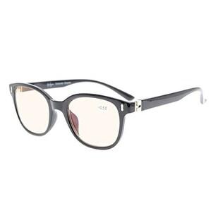 Eyekepper Men Women Unique 180 Degree Spring Hinges Amber Tinted Lenses Eyeglasses Black+3.5