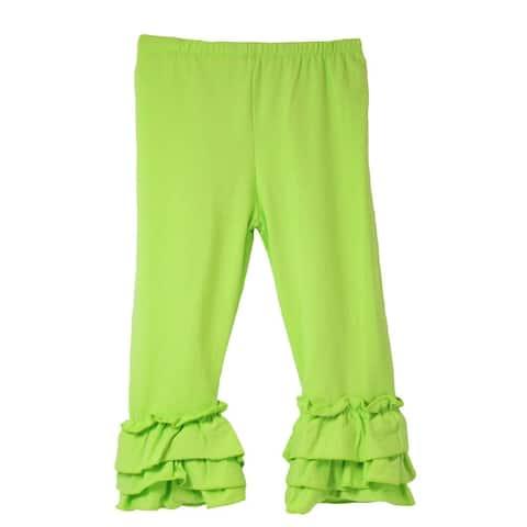 Girls Lime Triple Tier Ruffle Cuffed Cotton Spandex Pants 12M-7