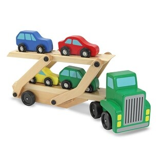Melissa & Doug 4096 Wooden Car Carrier Truck w/ Ramp & Cars Toy Set, Age 3+