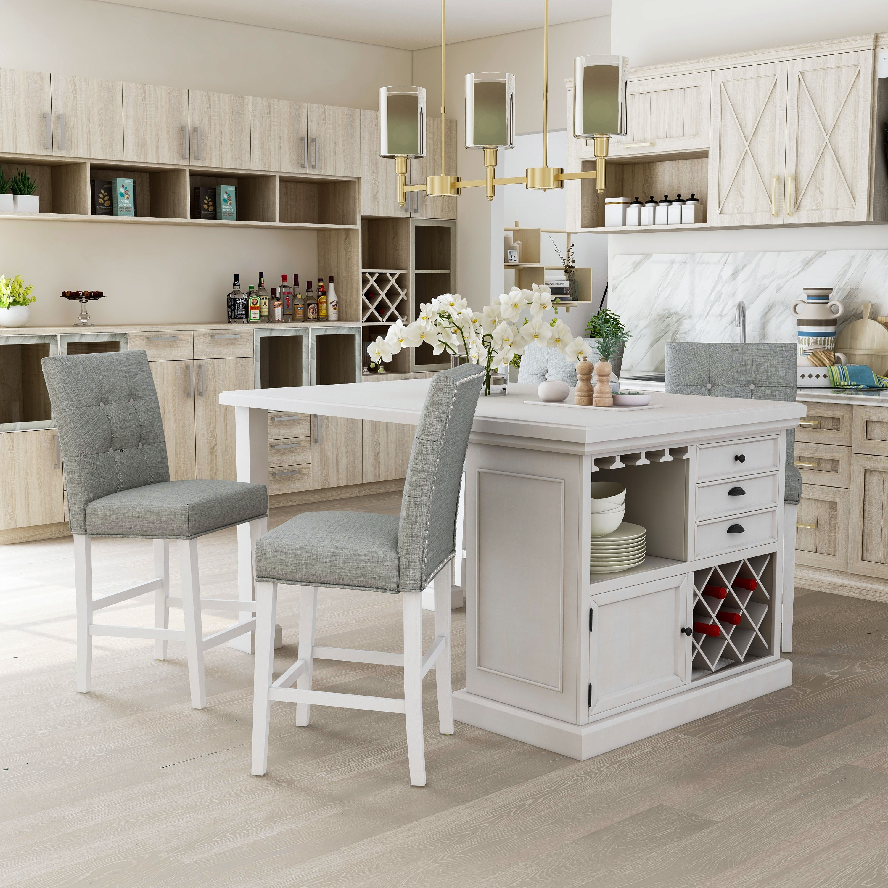 Furniture Of America Transitional White 5 Piece Kitchen Island Set On Sale Overstock 20324370