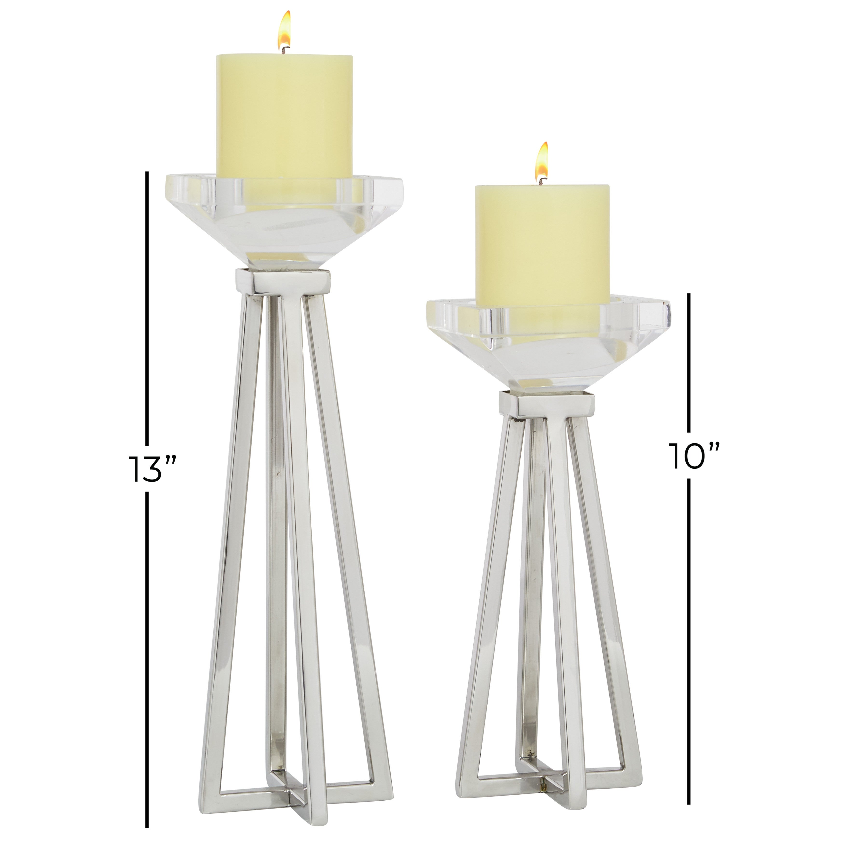 Candleholders Pillars Set Of 2 Metal And Acrylic Centerpieces For Home Silver 4 X 4 X 13 Overstock 32140851