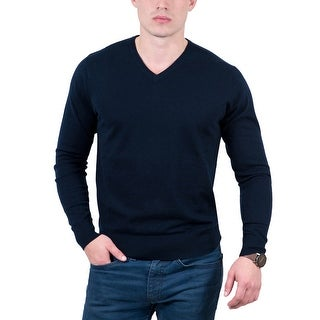Real Cashmere Navy Blue V-Neck Cashmere Blend Mens Sweater