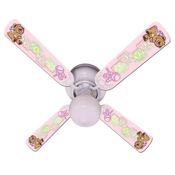 Pink Teddy Bear and Blocks Print Blades 42in Ceiling Fan Light Kit - Multi