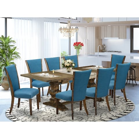 East West Furniture Dining Table Set Offers a Table and Upholstered Dining Chairs with Linen Fabric