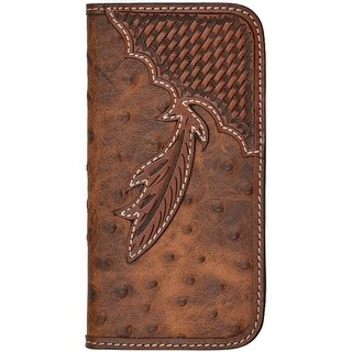 Tony Lama Cell Phone Case Leather iPhone 6 Ostrich Snap Brown