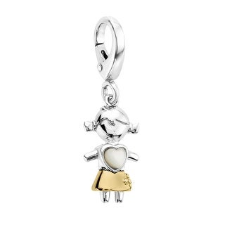 Natural Mother-of-Pearl Little Girl Heart Charm in Sterling Silver and 14K Gold - White