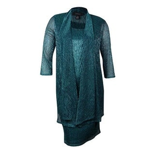 R&M Richards 2PC Women's Metallic Dress & Jacket Set - 8