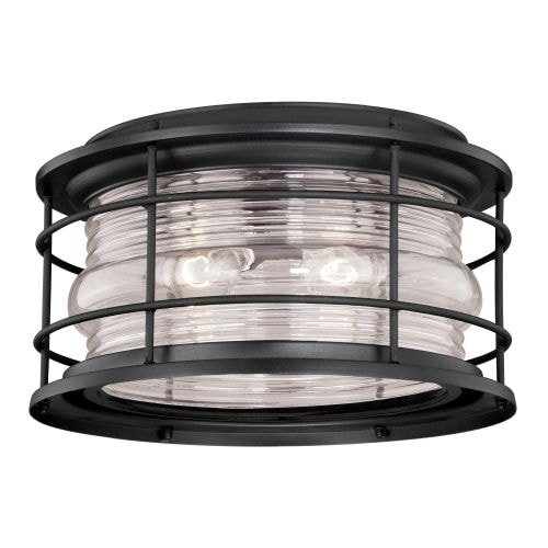 Vaxcel Lighting T0167 Hyannis 2 Light Flush Mount Outdoor Ceiling Fixture with Clear Ribbed Glass Shade - 12.63 Inches Wide