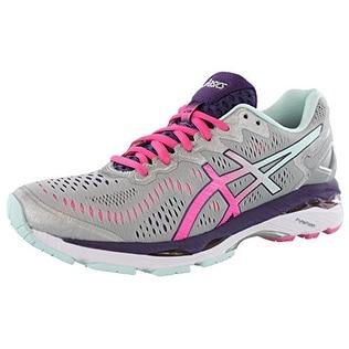 ASICS Womens Gel-Kayano 23 Running Shoe, Silver/Pink Glow/Purple, 8.5 2A US