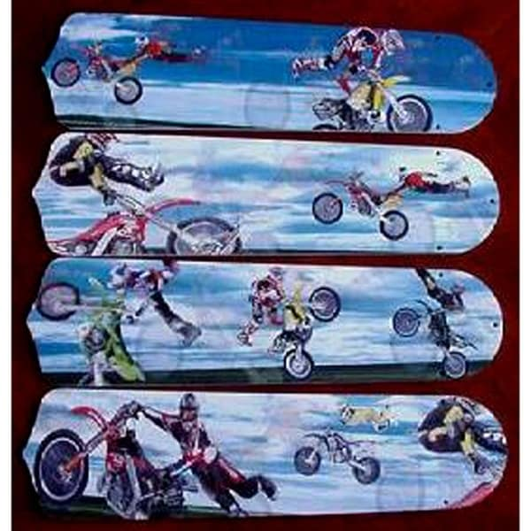 X-Games Motorcross Custom Designer 42in Ceiling Fan Blades Set - Multi