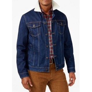 American Rag NEW Blue Mens Size Large L Faux-Sherpa Trim Jean Jacket