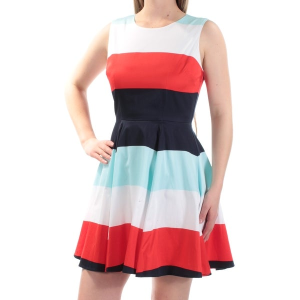 58d8aba21a Shop MAISON JULES Womens Red Striped Sleeveless Jewel Neck Mini Fit + Flare  Dress Size: XL - Free Shipping On Orders Over $45 - Overstock - 24062603