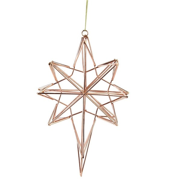 "6.75"" Rose Gold Geometric Wire 8-Point Star Christmas Ornament"