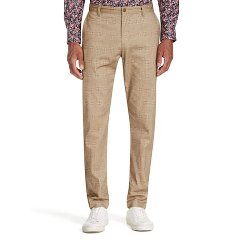 Tallia Men's Pants Brown Size 40 Straight Leg Houndstooth Stretch