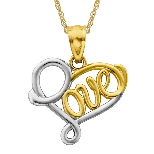 Just Gold 'Love' Heart Pendant in 14K Two-Tone Gold