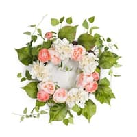 "Pack of 2 Springtime Delight Decorative Artificial Floral with Greenery Wreath 24"" - Green"