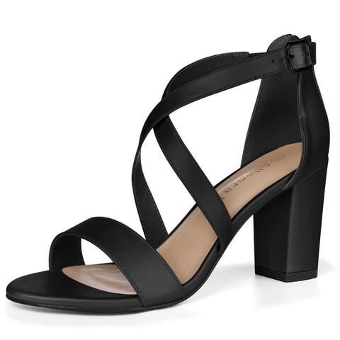 Women Chunky Heel Crisscross Straps Dress Sandals
