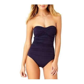 Anne Cole Women's Twist Front Shirred One Piece Swimsuit, Navy,, Navy, Size 8.0 - 8