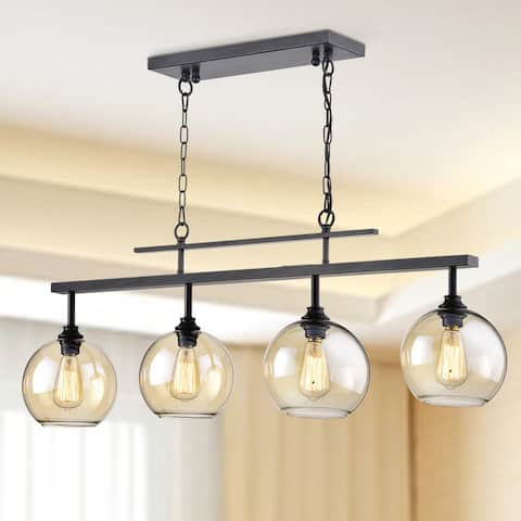 Antique Black 4-Light Linear Kitchen Island Chandelier with Amber Glass Shades