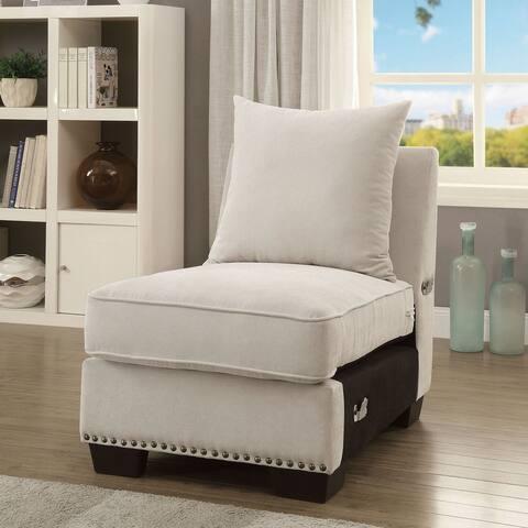 Furniture of America Riti Transitional Beige Nailhead Armless Chair