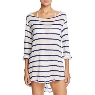Splendid Womens Blouse Striped Adjustable Sleeves - m
