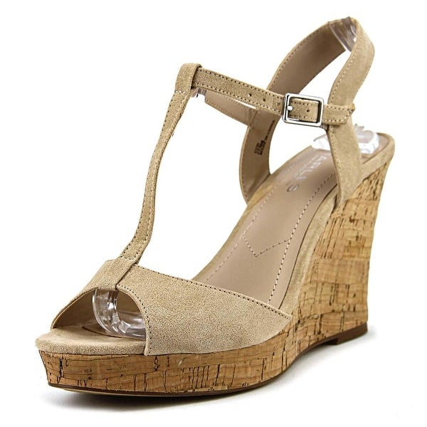 Charles By Charles David Lucas Women Open Toe Synthetic Nude Wedge Sandal