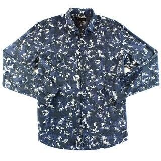 INC NEW Blue Mens Size XL Woven Button Down Abstract Print Shirt