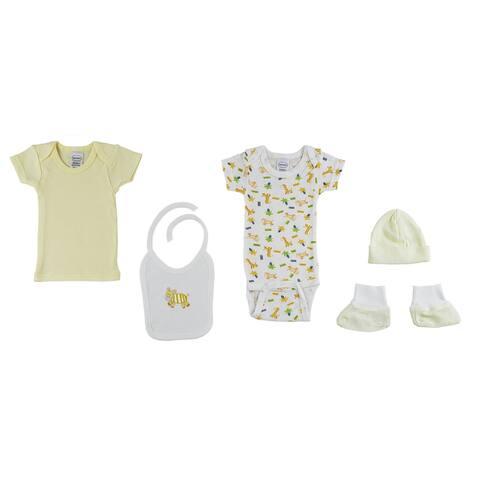 """Set of 5 Yellow and White Interlock Hanging Gift Set for Newborn, 8"""""""