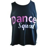 "Reflectionz Girls Black Silver Pink Glitter ""Dance Squad"" Tank Top"