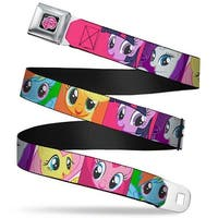 My Little Pony Logo Full Color Black Pink Pony Faces Close Up Blocks Pink Seatbelt Belt