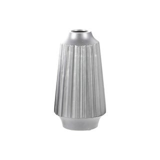 Urban Trends Ceramic Round Vase with Round Lip, Ribbed Design Body and Tapered Bottom Matte Finish Silver