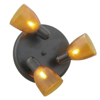 Eglo Benita 3-Light Oil Rubbed Bronze Round Flush Mount Track Light with Amber Glass