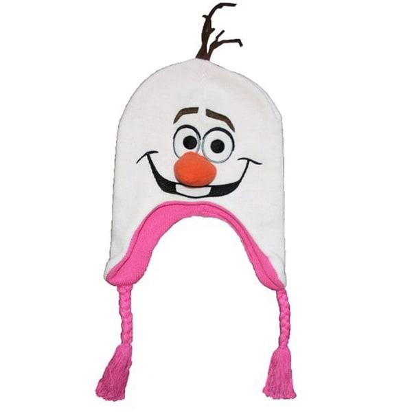 Frozen Olaf Girls Peruvian Hat White/Pink One Size
