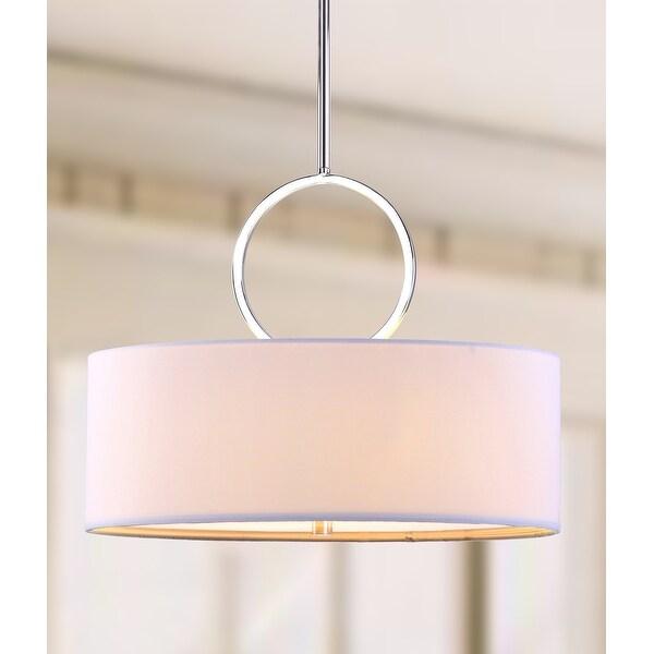 "Safavieh Lighting Debonair Adjustable 3-Light Chrome Drum Pendant Lamp - 18""x18""x16.75 - 52.75"" - 18""x18""x16.75 - 52.75"". Opens flyout."