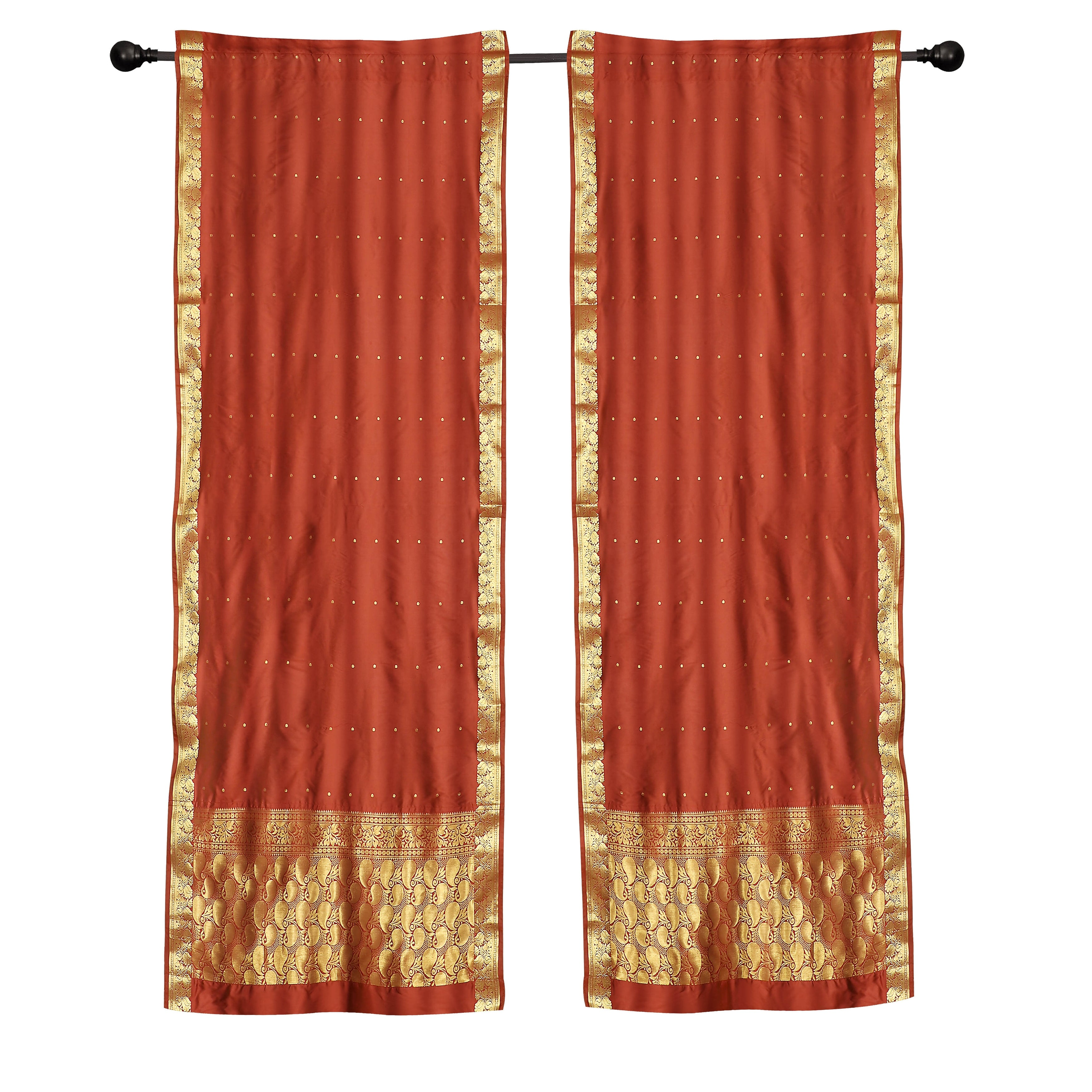 with matching tieback Indo Rust Tab Top Sari Sheer Curtain 43 in. x 84 in.
