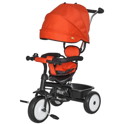 Qaba Baby Tricycle 2 In 1 Stroller with Adjustable Canopy Detachable Guardrail Safety Belt for Age 6-60 Months