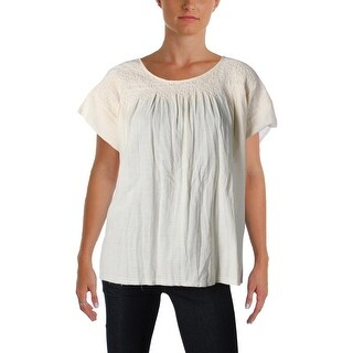 Current/Elliott Womens Juniors Casual Top Smocked Short Sleeves