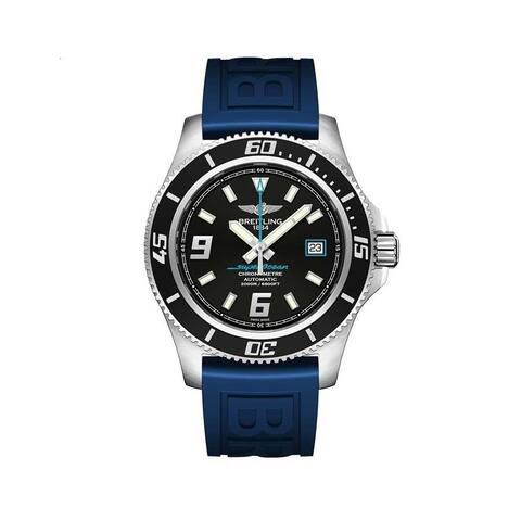 Breitling Men's A1739102-BA79-158S 'Superocean 44' Blue Rubber Watch - Black