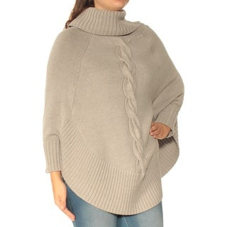 Womens Gray Dolman Sleeve Turtle Neck Casual Sweater Size S