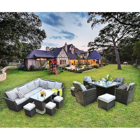 Moda Patio Stylish 17-piece Outdoor Wicker Sofa and Dining Set Combo