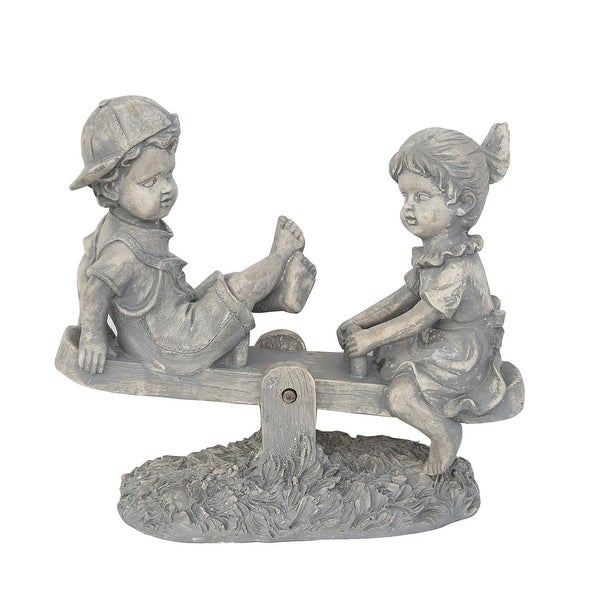 "11.5"" Light Gray Boy and Girl Playing on Seesaw Outdoor Patio Garden Statue"